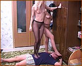 two girls in pantyhose trampling